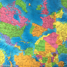 """Mapa del mundo 100% Tela De Algodón 54"""" de ancho (137cm) por 1/2 metro de costura y confección"""