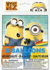 """(8ct) Despicable Me 2 Minions Birthday Latex Balloons Party Supplies 12"""""""