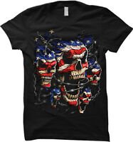 American Flag Skull - USA, United States of America Womens T-shirt