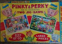Vintage Philmar Pinky and Perky Large Piece Jigsaw Puzzles - Twin Pack