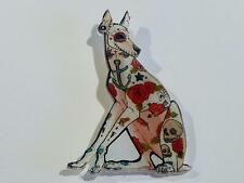 LASER CUT ACRYLIC BROOCH - COLOURFUL DOG WITH SKULLS - FREE UK P&P......CG0556