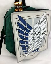 Attack On Titan Backpack Cosplay Scout Legion Anime 3D Book Bag Green Emblem NWT