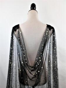 Black Bridal Wedding Shoulder Cape Veils Cloak for Brides Stars Tulle Cloak Long