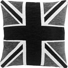 "THICK HEAVYWEIGHT CHENILLE BLACK WHITE SILVER UNION JACK 18"" CUSHION COVER"