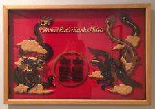"VTG Hand Carved Wood Foo Dog & Phoenix Tram Nam Hanh Phuc 25"" Shadow Box Frame"
