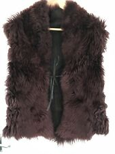 REVERSIBLE LADIES BURGUNDY SHEARLING SUEDE WAIST COAT JACKET GILET SIZE M £250