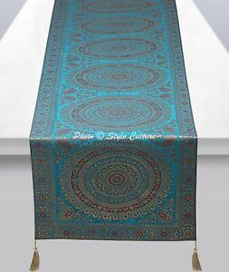 Ethnic Decorative Table Runner Wedding Turquoise Brocade Round Mandala Tassel