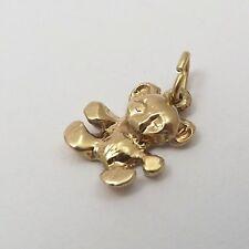 14K Gold Tiny Teddy Bear  Charm Pendant 0.5gr