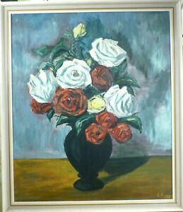 MONOGRAM SIGNED! STILL LIFE COMPOSITION WITH ROSES IN VASE