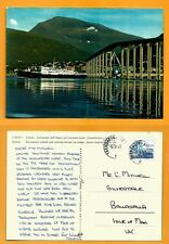 NORWAY VINTAGE  POSTCARD-  STAMP-TROMSO- COASTAL LINE-BRIDGE-TROMSDALSTING MOUNT