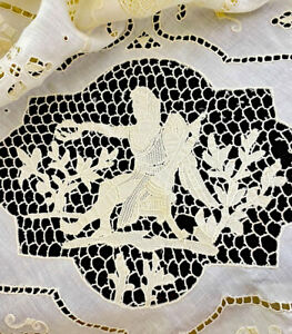 Antique 19th C French Multi Lace Banquet Tablecloth w Figural Insertions  WW531