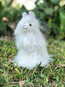 Handmade White Alpaca Fur Llama, Soft Stuffed Animal Alpaca, Peruvian Gift Ideas