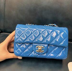 Authentic chanel mini Classic flap bag Blue patent Rare !!!