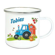 Emaille Tasse Name Traktor Namenstasse Kinder Geschenk personalisiertes Geschenk