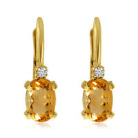 14k Yellow Gold Oval Citrine and Diamond Leverback Earrings