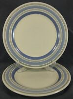 Pfaltzgraff Rio Dinner Plates Lot of 2 Blue Bands Stoneware Mexico Backstamp