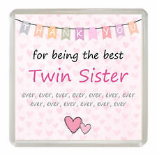 TWIN SISTER Coaster 'Thank You For Being The Best' Drinks Mat Fun Novelty Gift