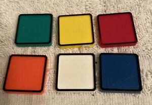 Vintage 1982 Rubiks Race Game By Ideal Lot Of 6 Color Replacement Tiles