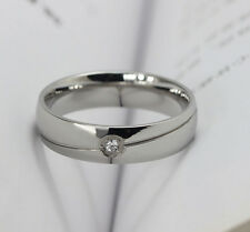 6mm mens women titanium steel silver simple wedding engagement ring size T alj22