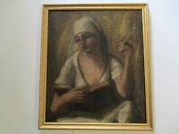 ANTIQUE OLD WPA STYLE OIL PAINTING NURSE NUN ICON IMPRESSIONISM PORTRAIT 1910