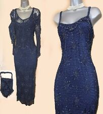 KAREN MILLEN Navy Gatsby 20's Spider Web Beaded Crochet Dress & Shrug  3 UK10/12