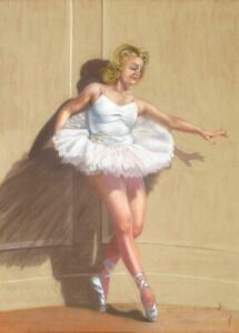 Vintage French Pastel Painting, Ballerina, Woman, Dancer, Pin-Up, Signed Joffroy