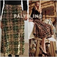 RARE_NWT $149 ZARA AW18 GREEN/GOLD LIMITED EDITION SEQUIN SKIRT 2488/108_S M L