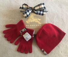 NWT BURBERRY Children Girls Boys Red Cashmere Checks Beanie & Gloves Set Sz M/L