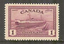 Canada #273, 1946 $1 Train Ferry Prince Edward Island - Peace Issue, Unused NH