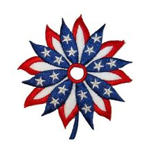 ID 1086Y Patriotic Flag Flower Patch American Craft Embroidered Iron On Applique