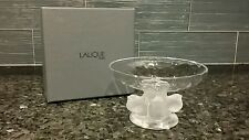 LALIQUE SPARROW CHICK PEDESTAL BOWL WITH BOX -- Retired model 11051 Nogent