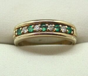 Lovely 9 Carat Gold Emerald And Diamond Half Eternity Style Ring Size N