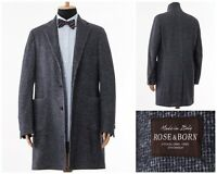 Mens ROSE & BORN Wool Over Coat Jacket Grey Size 44 XL 54
