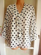 BEALES PLUS SIZE SWIRLY FRILL FRONT WHITE & BLACK DOT PRINT TOP MADE ENGLAND XL