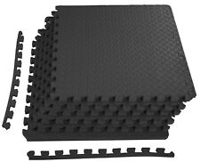 """Rubber Puzzle Mat Gym Fitness Floor Exercise Interlocking Rug Tiles 3/4"""" Thick"""