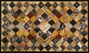 4'x3' Exclusive Marble Dining Center Table Top Multi Marquetry Inlay Arts H5079A