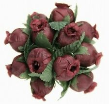 144 Miniature  Poly Rose Silk Favor Flower Pick Wedding Shower - Burgundy