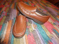 SAS Twin Brandy Brown Leather Slip On Shoes  8N NWB