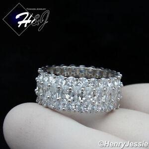 MEN WOMEN 925 STERLING SILVER ICY DIAMOND 10MM WEDDING BAND RING*SR154