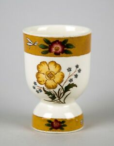 Antique Royal Cauldon ROC4 Large Egg Cup Yellow Band Flowers & Dragonfly England