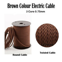 Vintage 3 Core Brown 0.75mm Flexible Cable - Braided Twisted/Round Lighting Cord