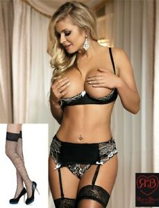 SEXY 1/4 Cup Bra GIFT Set with Suspenders GString  and STOCKINGS  Sizes 10 - 22