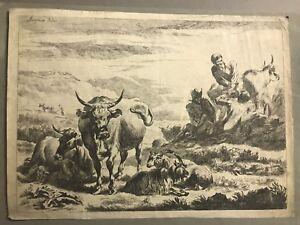 Nicolaes Berghem / Berchem 1620-1683/ Rare Dutch old master signed engraving