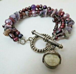 SAJEN Goddess Sterling Silver Three Strand Amethyst Pearl Garnet Toggle Bracelet