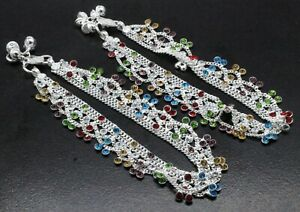 """925 Sterling Silver Multi Stone Gemstone Handmade Jewelry Anklets Size-10"""""""