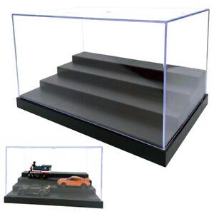 Clear Acrylic Display Box 25cm L Perspex 4 Steps Case Plastic Base Dustproof