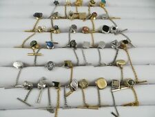 Lot of 35 Tie Tacks, Clasps, Clips Gold and Silver Tone Vintage and Modern
