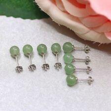 1 Par Earrings Jade Ear Studs Beads Earrings Pearl Silver Green Earrings Women