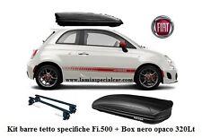 SPECIFICO X FIAT 500 INCLUSO ABARTH SET BOX  BAULE portapacchi CON  BARRE TETTO