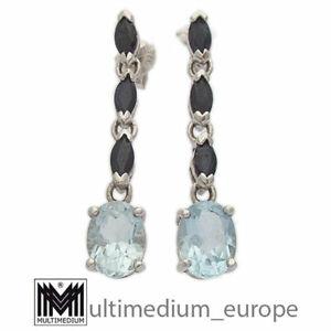 Silber Saphir Blautopas Ohrringe silver earring sapphire blue topaz 🌺🌺🌺🌺🌺
